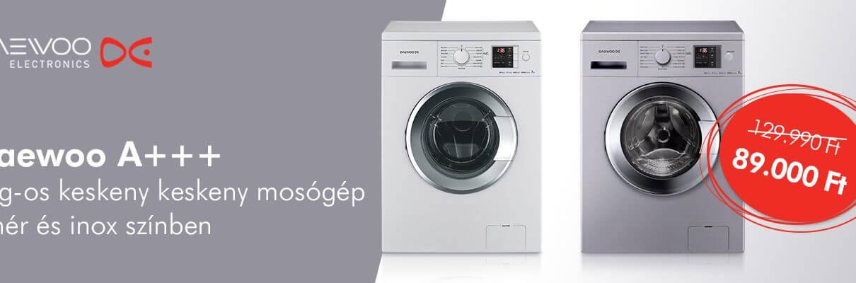 Daewoo, keskeny kialakítású mosógépek tartósan alacsony áron a KonyhaPlázán