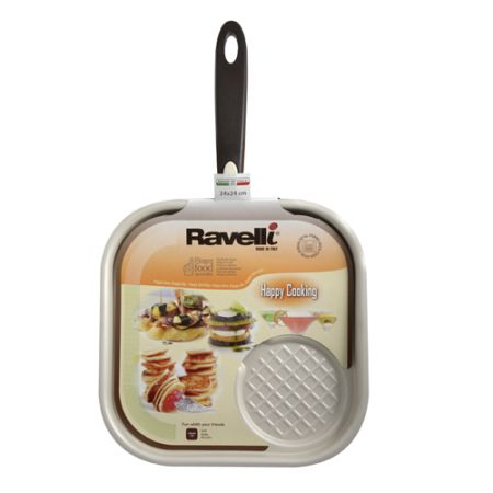 RAVELLI Happy Cooking hamburger serpenyő (24 cm x 24 cm)
